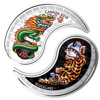 2018 Canada $10 Tiger and Dragon Yin and Yang Silver Coin (TAX Exempt)