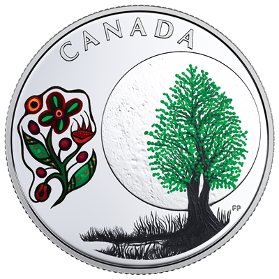 2018 Canada $3 Thirteen Teachings from Grandmother Moon - Thimbleberry Moon (No Tax)
