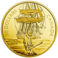 2018 Canada $30 Captain Cook & the HMS Resolution Gold Plated Fine Silver (No Tax)