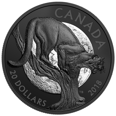 2018 Canada $20 Nocturnal by Nature - Cunning Cougar Fine Silver (No Tax)