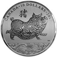 2019 Canada $10 Lunar Year of the Pig Fine Silver (Tax Exempt)