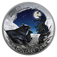 2018 Canada $50 Nature's Light Show: Moonlit Tranquility Fine Silver (No Tax)