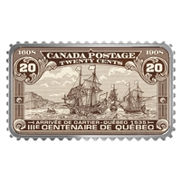 2019 $20 Canada's Historical Stamps: Arrival of Cartier - Quebec 1535 Silver (No Tax)