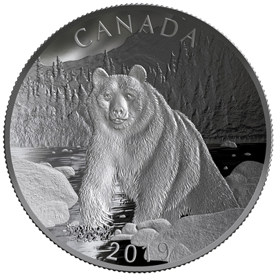 2019 Canada $100 Double Concave Nature's Grandeur - Brown Bear Fine Silver (Tax Exempt)