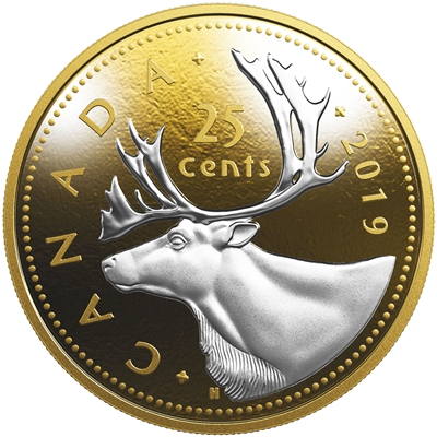 2019 Canada 25-cent Big Coin 5oz Reverse Gold Plated Silver (Tax Exempt)