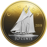 2019 Canada 10-cent Big Coin Reverse Gold Plated 5oz Fine Silver (No Tax)