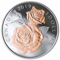 RDC 2019 Canada $3 Queen Elizabeth Rose Blossoms Fine Silver (No Tax) scuffed sleeve