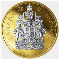 2019 Canada 50-cent Big Coin Reverse Gold Plated 5oz. Fine Silver (No Tax)
