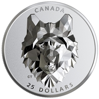 2019 Canada $25 Multifaceted Animal Head - Wolf Fine Silver (No Tax)