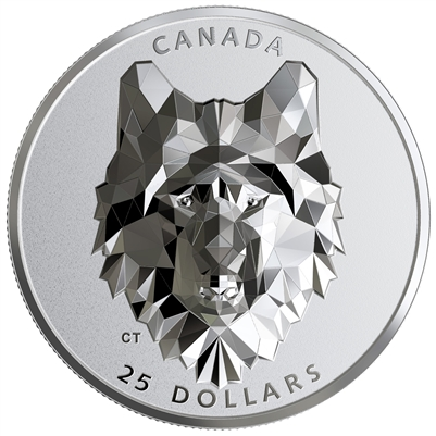 (Pre-Order) 2019 Canada $25 Multifaceted Animal Head - Wolf Fine Silver (No Tax)