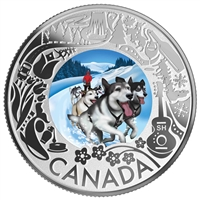 (Pre-Order) 2019 $3 Celebrating Canadian Fun & Festivities - Dogsledding Fine Silver (No Tax)
