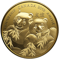 2019 Canada $8 Pandas: A Golden Gift of Friendship Gold Plated Fine Silver