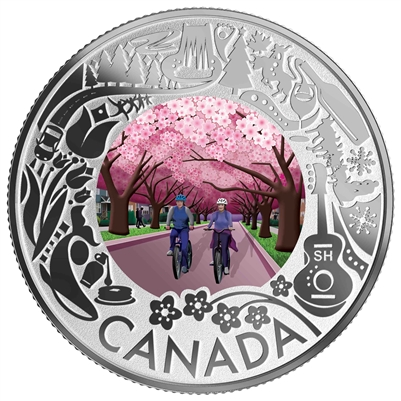 (Pre-Order) 2019 $3 Celebrating Canadian Fun & Festivities Cherry Blossoms Fine Silver (No Tax)