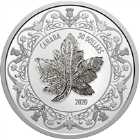 2020 Canada $30 Canadian Maple Leaf Brooch Legacy Fine Silver Coin