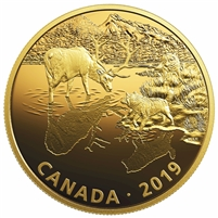 2019 Canada $30 Golden Reflections - Predator & Prey Wolves & Elk (No Tax)