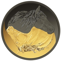 2020 Canada $20 Black and Gold: The Canadian Horse Fine Silver Coin (No Tax)