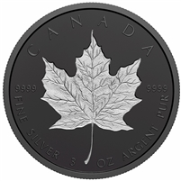 2020 Canada $50 Rhodium-Plated Incuse 3oz. Fine Silver Maple Leaf (NO Tax)