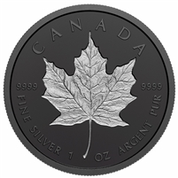 2020 Canada $20 Rhodium-Plated Incuse 1oz. Fine Silver Maple Leaf (NO Tax)