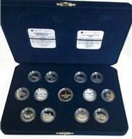 1992 Canada 125th Anniversary 13-coin Sterling Silver Proof 25-Cent set w/loon