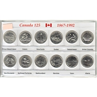 1992 Canada 125 Commemorative 25ct Small Sleeve with Coins
