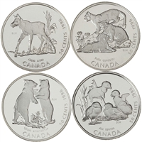 RDC 1996 Canada 50-cent Little Wild Ones Sterling Silver 4-coin Set (Impaired)