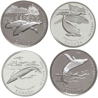 1998 Canada 50-cent Ocean Giants - Whales Sterling Silver 4-coin Set