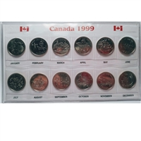 1999 Canada Millennium 25 cent Small Sleeve with coins.