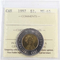 1997 Canada Two Dollar ICCS Certified MS-65