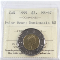 1999 Canada Polar Bear Two Dollar ICCS Certified MS-67 Numismatic BU