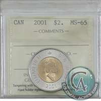2001 Canada Two Dollar ICCS Certified MS-65