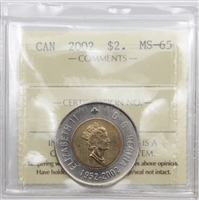 2002 Canada Two Dollar ICCS Certified MS-65