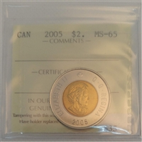 2005 Canada Two Dollar ICCS Certified MS-65
