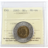 2005 Canada Two Dollar ICCS Certified MS-66