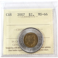 2007 Canada Two Dollar ICCS Certified MS-66