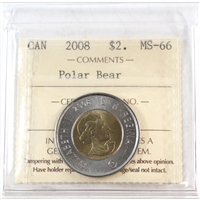 2008 Canada Polar Bear Two Dollar ICCS Certified MS-66