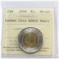 2008 Canada Quebec City Two Dollar ICCS Certified MS-65