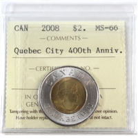 2008 Canada Quebec City Two Dollar ICCS Certified MS-66