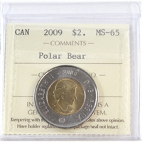 2009 Canada Two Dollar ICCS Certified MS-65