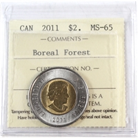 2011 Canada Boreal Forest Two Dollar ICCS Certified MS-65