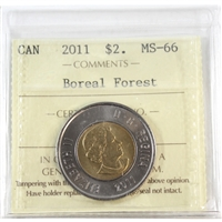 2011 Canada Boreal Forest Two Dollar ICCS Certified MS-66