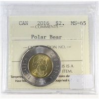 2015 Canada Polar Bear Two Dollar ICCS Certified MS-65