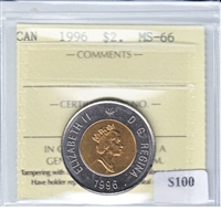 1996 Canada Two Dollar ICCS Certified MS-66