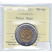 2011 Canada Polar Bear Two Dollar ICCS Certified MS-66
