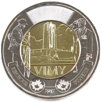 2017 Canada Vimy Ridge Two Dollar Brilliant Uncirculated MS-63