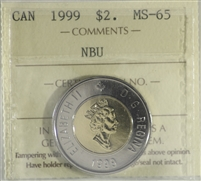 1999 Polar Bear Canada Two Dollar ICCS Certified MS-65 NBU