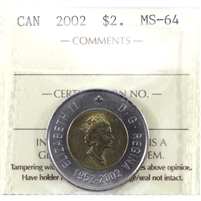 2002 Canada Two Dollar ICCS Certified MS-64