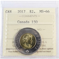 2017 Canada 150th $2 ICCS Certified MS-66