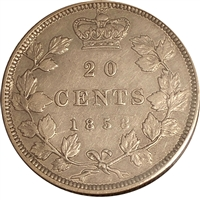 1858 Coinage Canada 20-cents VF-EF (VF-30)