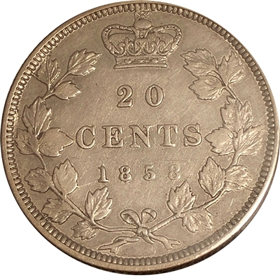 1858 Coinage Canada 20-cents VF-EF (VF-30) $