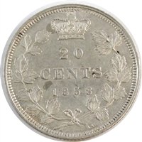 1858 Coinage Canada 20 Cents Almost Uncirculated (AU-50)